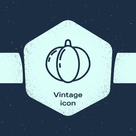 Grunge line Pumpkin icon isolated on blue background. Happy Halloween party. Monochrome vintage drawing. Vector Illustration