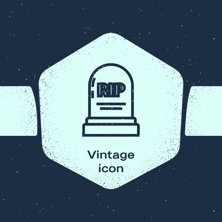 Grunge line Tombstone with RIP written on it icon isolated on blue background. Grave icon. Monochrome vintage drawing. Vector Illustration