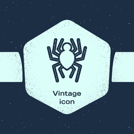 Grunge line Spider icon isolated on blue background. Happy Halloween party. Monochrome vintage drawing. Vector Illustration