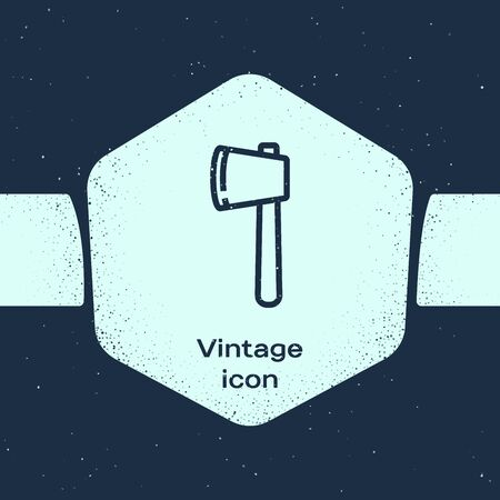 Grunge line Wooden axe icon isolated on blue background. Lumberjack axe. Happy Halloween party. Monochrome vintage drawing. Vector Illustration