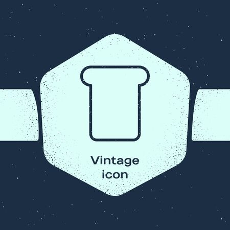 Grunge line Bread toast for sandwich piece of roasted crouton icon isolated on blue background. Lunch, dinner, breakfast snack. Monochrome vintage drawing. Vector Illustration