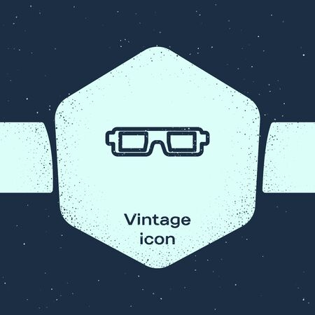 Grunge line 3D cinema glasses icon isolated on blue background. Monochrome vintage drawing. Vector Illustration