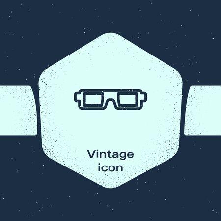 Icône de lunettes de cinéma 3D ligne grunge isolé sur fond bleu. Dessin vintage monochrome. Illustration vectorielle Vecteurs