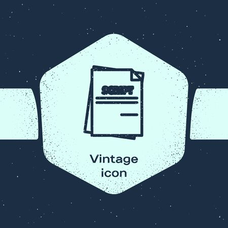 Grunge line Scenario icon isolated on blue background. Script reading concept for art project, films, theaters. Monochrome vintage drawing. Vector Illustration Illusztráció