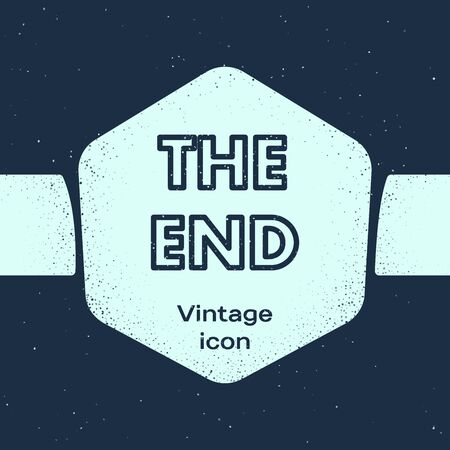 Grunge line The End handwritten inscription icon isolated on blue background. Closing movie frame. Movie ending screen. Monochrome vintage drawing. Vector Illustration