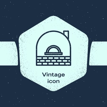 Grunge line Brick stove icon isolated on blue background. Brick fireplace, masonry stove, stone oven icon.Monochrome vintage drawing. Vector Illustration Illustration