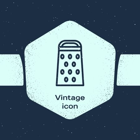 Grunge line Grater icon isolated on blue background. Kitchen symbol. Cooking utensil. Cutlery sign. Monochrome vintage drawing. Vector Illustration