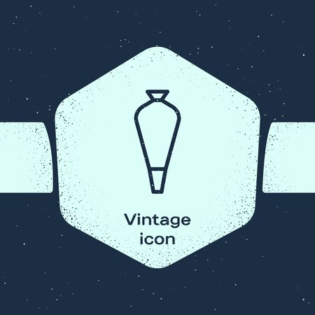 Grunge line Pastry bag for decorate cakes with cream icon isolated on blue background. Kitchenware and utensils. Monochrome vintage drawing. Vector Illustration