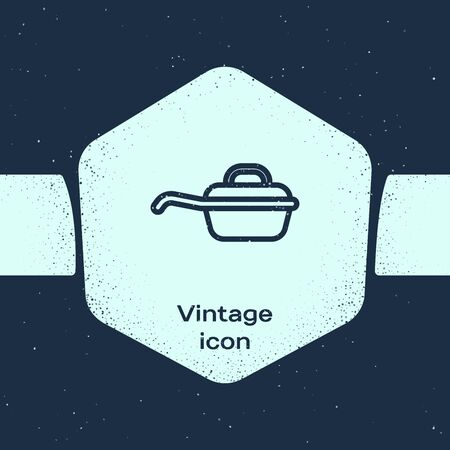 Grunge line Frying pan icon isolated on blue background. Fry or roast food symbol. Monochrome vintage drawing. Vector Illustration