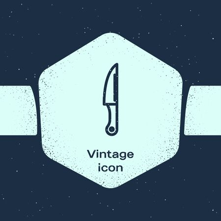 Grunge line Knife icon isolated on blue background. Cutlery symbol. Monochrome vintage drawing. Vector Illustration