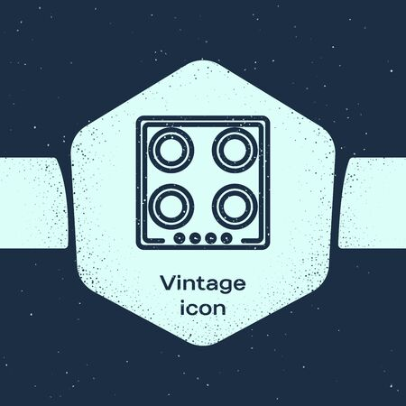 Grunge line Gas stove icon isolated on blue background. Cooktop sign. Hob with four circle burners. Monochrome vintage drawing. Vector Illustration Vettoriali