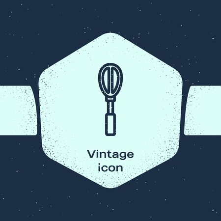 Grunge line Kitchen whisk icon isolated on blue background. Cooking utensil, egg beater. Cutlery sign. Food mix symbol. Monochrome vintage drawing. Vector Illustration