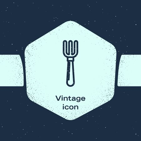 Grunge line Fork icon isolated on blue background. Cutlery symbol. Monochrome vintage drawing. Vector Illustration