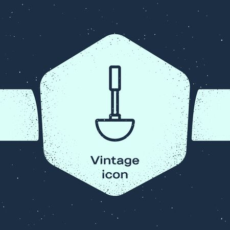 Grunge line Kitchen ladle icon isolated on blue background. Cooking utensil. Cutlery spoon sign. Monochrome vintage drawing. Vector Illustration Ilustrace