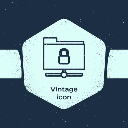 Grunge line FTP folder and lock icon isolated on blue background. Concept of software update. Security, safety, protection concept. Monochrome vintage drawing. Vector Illustration