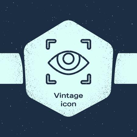 Grunge line Eye scan icon isolated on blue background. Scanning eye. Security check symbol. Cyber eye sign. Monochrome vintage drawing. Vector Illustration Ilustração