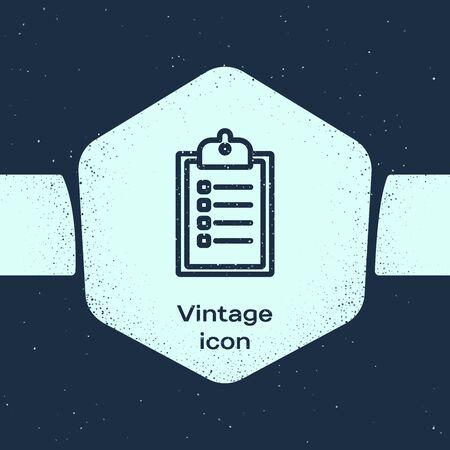 Grunge line Verification of delivery list clipboard icon isolated on blue background. Monochrome vintage drawing. Vector Illustration Ilustração