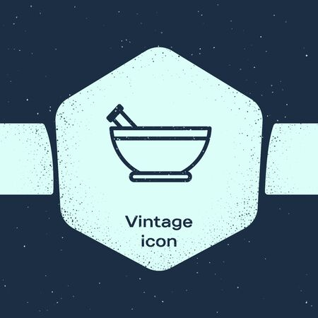 Grunge line Mortar and pestle icon isolated on blue background. Monochrome vintage drawing. Vector Illustration 矢量图像