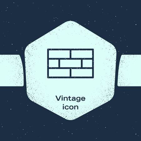 Grunge line Bricks icon isolated on blue background. Monochrome vintage drawing. Vector Illustration Illusztráció