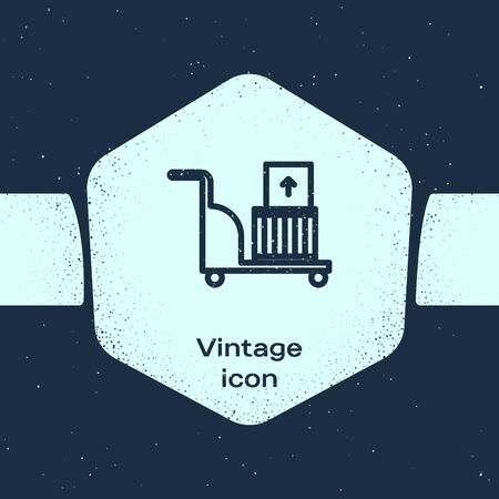 Grunge line Electric hand truck and boxes icon isolated on blue background. Dolly symbol. Monochrome vintage drawing. Vector Illustration