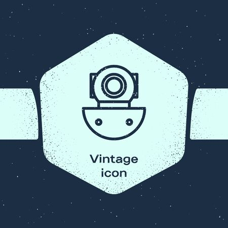 Grunge line Aqualung icon isolated on blue background. Diving helmet. Diving underwater equipment. Monochrome vintage drawing. Vector Illustration