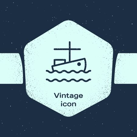 Grunge line Fishing boat on water icon isolated on blue background. Monochrome vintage drawing. Vector Illustration