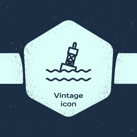 Grunge line Floating buoy on the sea icon isolated on blue background. Monochrome vintage drawing. Vector Illustration