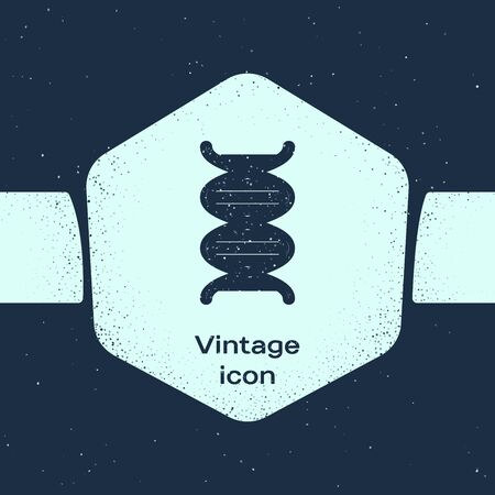 Grunge line DNA symbol icon isolated on blue background. Monochrome vintage drawing. Vector Illustration