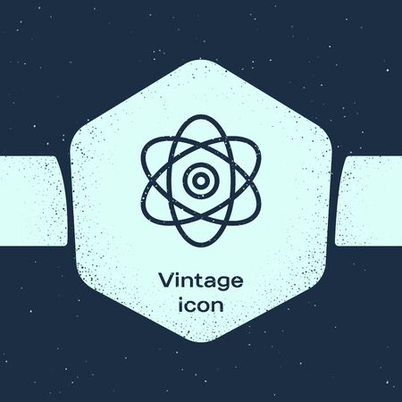 Grunge line Atom icon isolated on blue background. Symbol of science, education, nuclear physics, scientific research. Electrons and protons sign. Monochrome vintage drawing. Vector Illustration