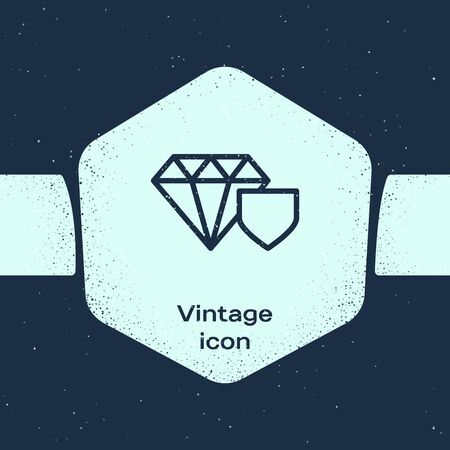 Grunge line Diamond with shield icon isolated on blue background. Jewelry insurance concept. Security, safety, protection, protect concept. Monochrome vintage drawing. Vector Illustration