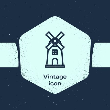 Grunge line Windmill icon isolated on blue background. Monochrome vintage drawing. Vector Illustration Vettoriali