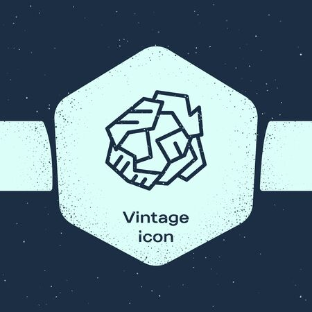 Grunge line Crumpled paper ball icon isolated on blue background. Monochrome vintage drawing. Vector Illustration Vettoriali