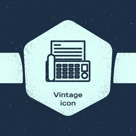 Grunge line Fax machine icon isolated on blue background. Office Telephone. Monochrome vintage drawing. Vector Illustration