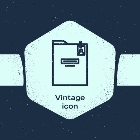 Grunge line Personal folder icon isolated on blue background. Monochrome vintage drawing. Vector Illustration