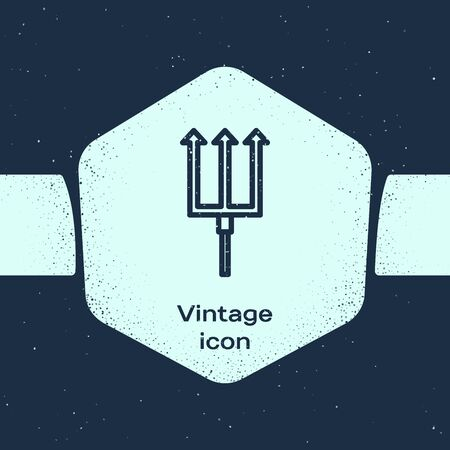 Grunge line Neptune Trident icon isolated on blue background. Monochrome vintage drawing. Vector Illustration