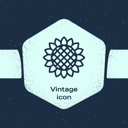 Grunge line Sunflower icon isolated on blue background. Monochrome vintage drawing. Vector Illustration Иллюстрация