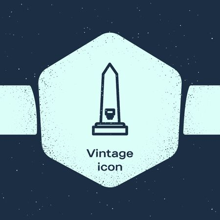 Grunge line Washington monument icon isolated on blue background. Concept of commemoration, DC landmark, patriotism. Monochrome vintage drawing. Vector Illustration
