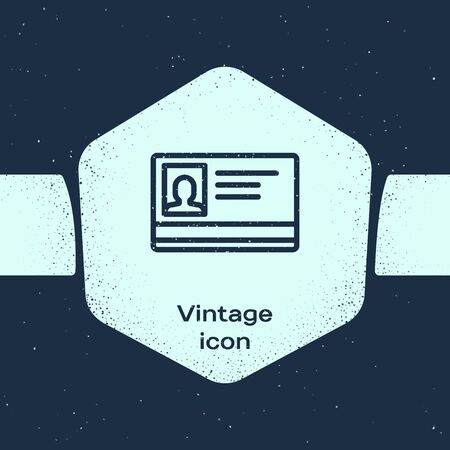 Grunge line Identification badge icon isolated on blue background. It can be used for presentation, identity of the company, advertising. Monochrome vintage drawing. Vector Illustration