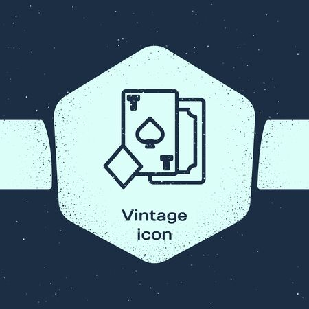 Grunge line Playing card with spades symbol icon isolated on blue background. Casino gambling. Monochrome vintage drawing. Vector Illustration