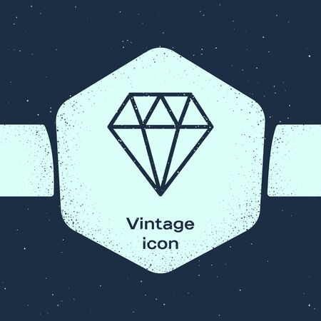 Grunge line Diamond icon isolated on blue background. Jewelry symbol. Gem stone. Monochrome vintage drawing. Vector Illustration Illusztráció