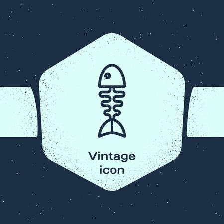 Grunge line Fish skeleton icon isolated on blue background. Fish bone sign. Monochrome vintage drawing. Vector Illustration