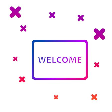 Color Doormat with the text Welcome icon isolated on white background. Welcome mat sign. Gradient random dynamic shapes. Vector Illustration