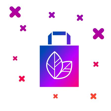 Color Paper shopping bag with recycle icon isolated on white background. Bag with recycling symbol. Gradient random dynamic shapes. Vector Illustration Illustration