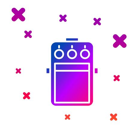 Color Guitar pedal icon isolated on white background. Musical equipment. Gradient random dynamic shapes. Vector Illustration