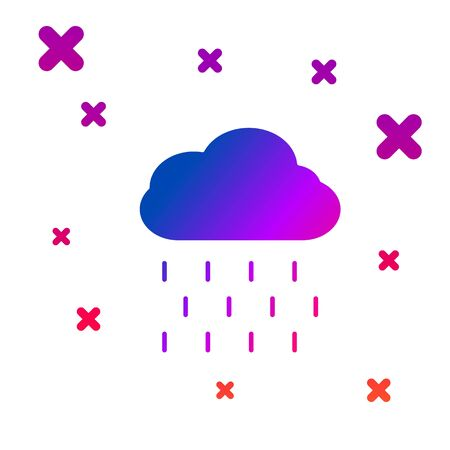 Color Cloud with rain icon isolated on white background. Rain cloud precipitation with rain drops. Gradient random dynamic shapes. Vector Illustration Illusztráció