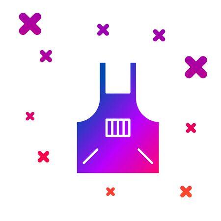 Color Kitchen apron icon isolated on white background. Chef uniform for cooking. Gradient random dynamic shapes. Vector Illustration Ilustração