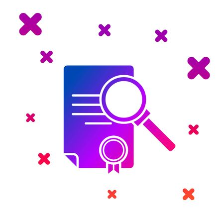 Color Document with search icon isolated on white background. File and magnifying glass icon. Analytics research sign. Gradient random dynamic shapes. Vector Illustration