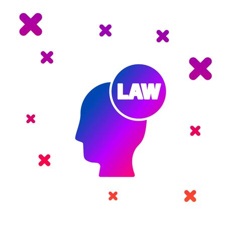 Color Head with law icon isolated on white background. Gradient random dynamic shapes. Vector Illustration