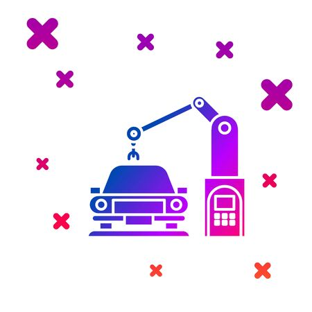 Color Industrial machine robotic robot arm hand on car factory icon isolated on white background. Industrial automation production automobile. Gradient random dynamic shapes. Vector Illustration Vettoriali