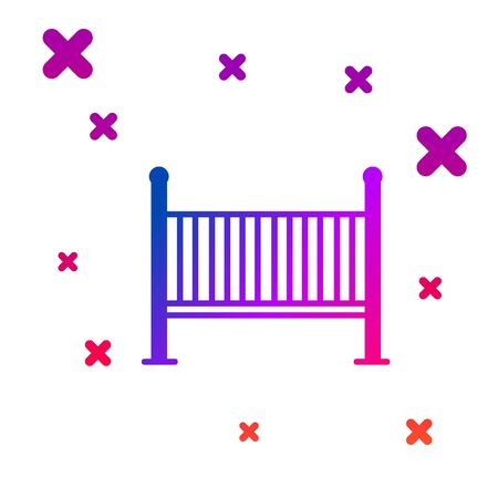 Color Baby crib cradle bed icon isolated on white background. Gradient random dynamic shapes. Vector Illustration  イラスト・ベクター素材